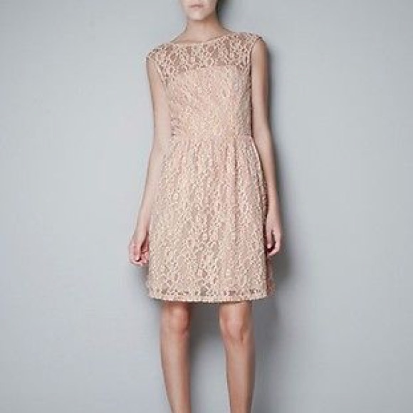 Zara Dresses & Skirts - zara nude fit and flare lace dress